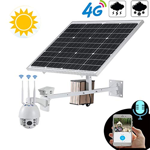 Z-DYQ Solar-IP-Kamera 4G Wireless PTZ-Geschwindigkeits-Dome-Kamera Wasserfeste 1080P HD 5X Zoom -Sicherheit 60W Sonnenkollektor Kameras Plug & Play Fernzugriff Rotary Monitoring-32GB TF-Karte,6mm Motorisierte Zoom-kameras