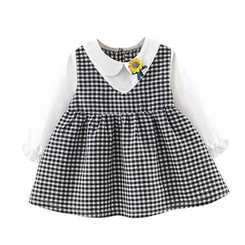 Livoral Baby badewanne Kleinkind Kinder Baby gefälschte Zwei Kleider Plaid Sunflower Girls Princess Party Dress(Schwarz,90)