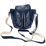 Dunkelblaue Trachtentasche Dirndltasche Kleine Lederhosen-Tasche Umhängetasche Wild-Leder