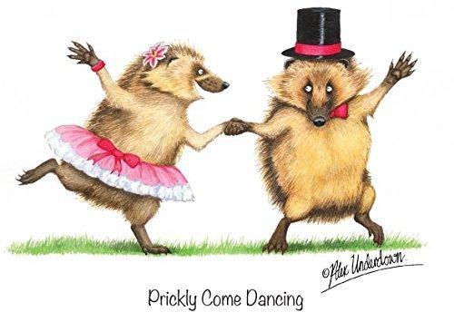 Divertido ERIZO saludo tarjeta. Chumbo Come dancing. Divertido Tarjeta para FLORA Y FAUNA Y NATURALEZA AMANTES
