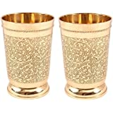 INDIAN CRAFTIO BRASS EMBOSSED GLASS SET OF TWO