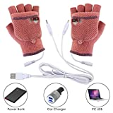 Voberry Laptop Women Men USB Heated Mitten Full&Half Finger Winter Warm Knit Hand Gloves