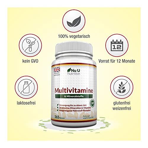 Vitamine & Mineralien – Männer & Frauen – 24 Multivitamine & Mineralstoffe in einer Tablette – Versorgung für bis zu 1 Jahr – für Vegetarier geeignet 365 Tabletten Nahrungsergänzungsm - 3