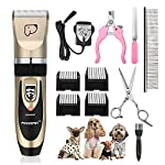 Dog Grooming Clippers, Focuspet 2 Speed Adjustable Dog Clippers Rechargeable Cordless Low Noise Dog Clippers Kit… 8