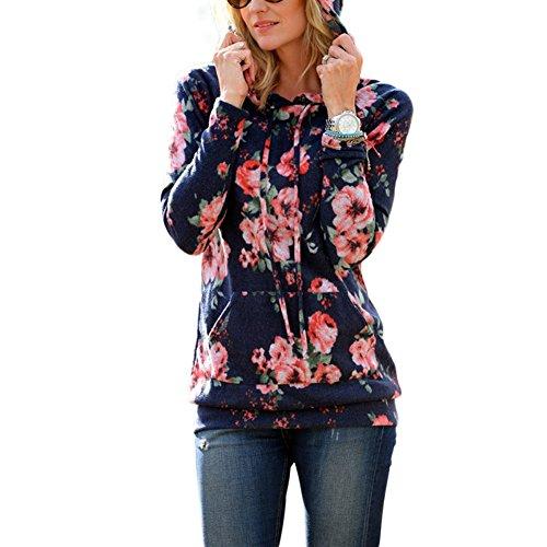 Geblümte Kurzarm-shirt (Lover-Beauty Damen Kapuzenpullover Blumen gedrukt Kapuzenpullis ,Sport Hoodie ,Sweatshirts?S Blumen Orange)