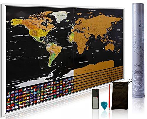 Premium Edition Rubbel-Weltkarte, inkl. Kratzstift, Gitarren-Plektrum, Lupenkarte und Zubehör-Tasche. Perfektes Geschenk für Reisende. Inkl. USA, Kanada und 252Flaggen. 595 x 825 mm.