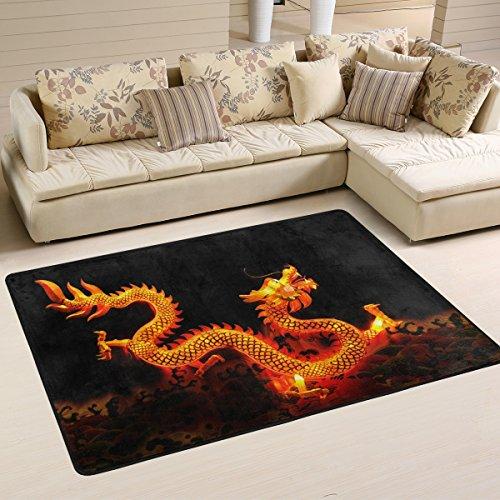 Chinesische Teppich (coosun Chinesischer Drache Laterne Bereich Teppich Teppich rutschfeste Fußmatte Fußmatten für Wohnzimmer Schlafzimmer 91,4x 61cm, Textil, multi, 36 x 24 inch)