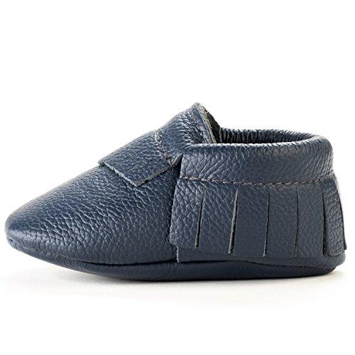BirdRock Baby Mokassins Weichen Sohle Leder Boys und Girls Schuhe für Kinder, Babys und Kleinkinder (Large| 18-24 Months | US 6.5, Navy Blue) (Us-navy Chief)