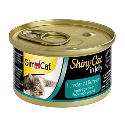 GimCat ShinyCat in Jelly - Comida para gatos con ave en gelatina para gatos adultos - Pollo con gambas - 24 latas (24 x 70 g)