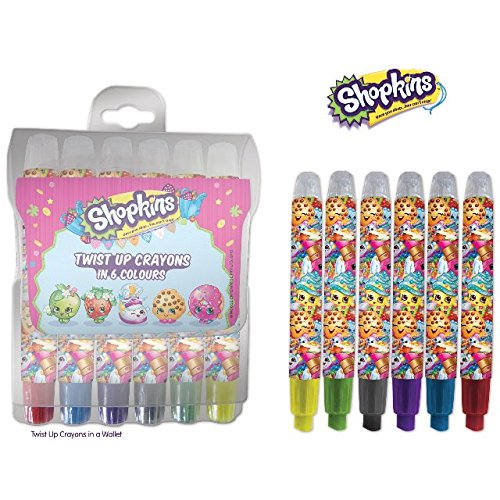 The Home Fusion Company Shopkins 6 x Twist en Haut Gros Crayons Sac Soirée Cadeau coloré
