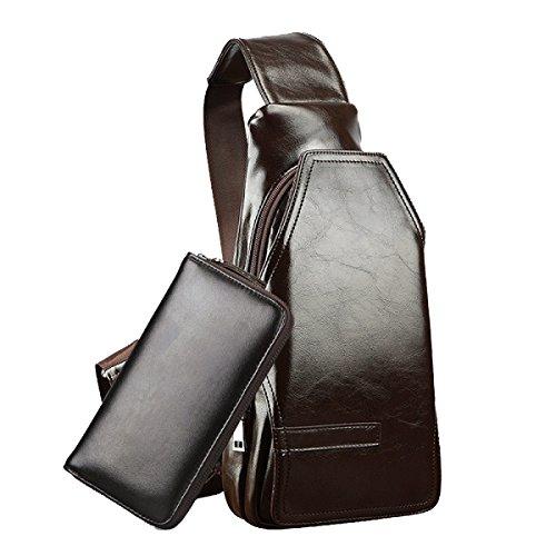 Yy.f Sacchetto Di Cassa Maschile Borsa Da Viaggio Allaperto Per Il Tempo Libero Zaino Sportivo Alla Moda Borsa In Pelle Pu Borsa Da Viaggio (nero E Marrone) Black+Handbag