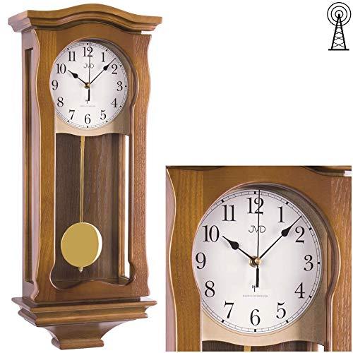 Klassische Wanduhr mit Pendel Funk Uhr Eiche Westminster Regulateur Funkuhr