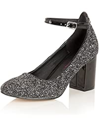 0cbc96ea51c Dolcis Ladies Vintage Crushed Crushed Glitter Ankle Strap Womens Block Heel  Evening Court Shoe Black