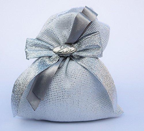 Bomboniera con confetti, sacchetto con fiocco argento e targhetta 25 anni (per urgenze provare a contattare il venditore)