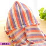 Coral fleece CAP Super absorbent water thick dry towel dry hair Cap -6225.5cm Purple stripes