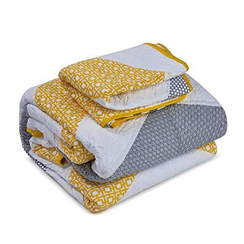 Copriletto matrimoniale reversibile trapuntato in cotone patchwork trapuntato giallo copriletto super morbido per letto singolo e letto matrimoniale 3 pezzi set biancheria da letto,240x270cm
