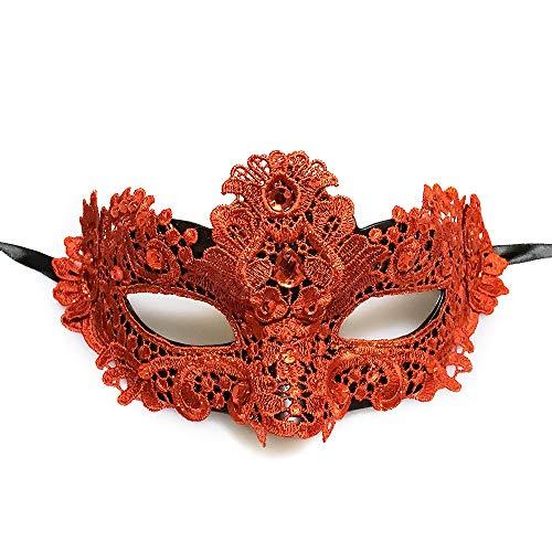 masqueradeparty Brokat Spitze Venezianische Maske mit Perlen–Rose Rot