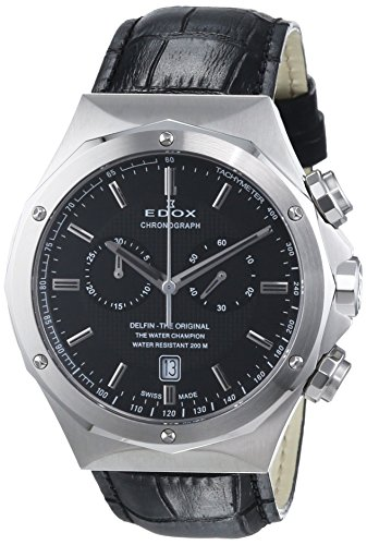 Edox Dolphin The Original Unisex Quartz Watch with Black Dial Analogue Display Quartz 10105 3 NIN