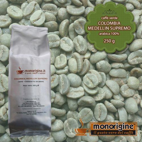 Caffè Verde in Grani Colombia Medellin Supremo 250 gr - Caffè Monorigine Arabica 100%