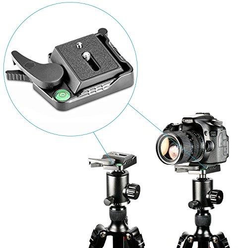 """Neewer® Schwarz Aluminiumlegierung schnelle Freigabe QR-Platten-Adapter mit 1/4 """"-3/8"""" Schrauben und Wasserwaagen Hebel für DSLR Kamera-Stativ Einbeinstativ Stabilisator Kugelkopf"""