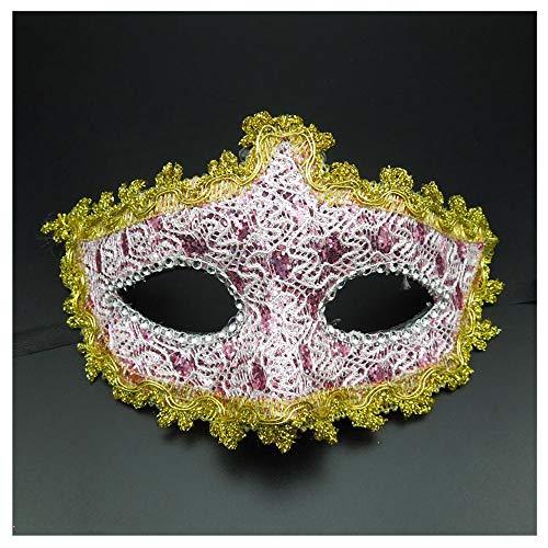 Halloween Mädchen Make-up Maske Kinder Maske Prom Männer Erwachsene Sexuelle Liebe Weibliche Prinzessin Half Face (Color : Pink)