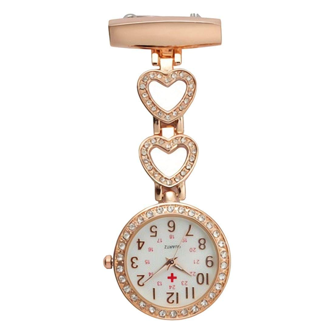 SODIAL(R) Ladies Heart Steel Crystal Nurse Doctor Paramedic Tunic Brooch Quartz FOB Pocket Watch Rose gold