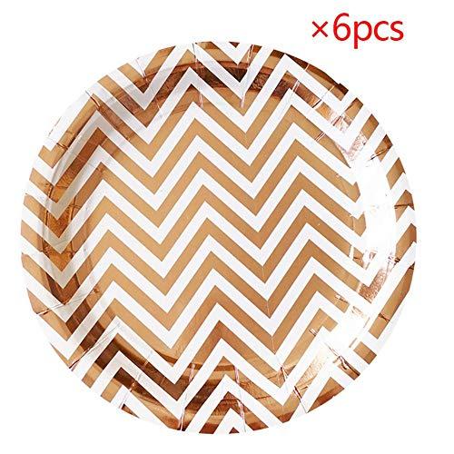 Ziemlich Waving Rose Gold Muster Dekoriert Einweg Papier Geschirr Platten Parteien Geburtstag Hochzeit Party Supplies, 9Zoll 6 Stücke