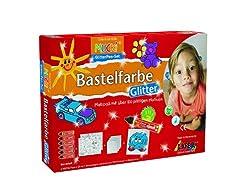 Kreul 24400 - Mucki Bastelfarbe Glitter Pen Set für Kinder, 6 Glitter Farben in praktischen 29 ml Pens, Malkarton und Malvorlagen mit kindlichen Motiven