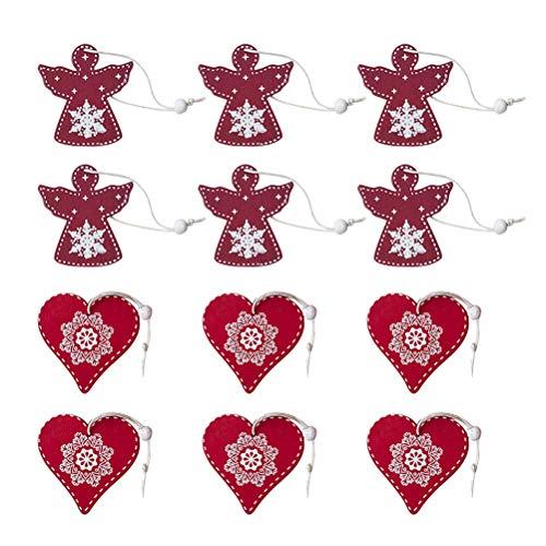 Bestoyard decorazioni albero di natale ciondolo di cuore e angelo in legno per appese addobbi natalizie 12 pezzi