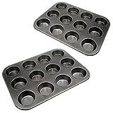 2x Muffin-Form 12er mit Antihaftbeschichtung, Muffin-Blech Muffinförmchen, Kuchen-Form, cup cake Form Durchmesser pro Muffin 7cm, 39cm x 29,5cm, Marke YOUZiNGS