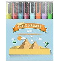 Eachgoo Chalk Markers, 8 Colors Erasable 3mm Fine Bullet Tip Water Based Liquid Chalk Pens