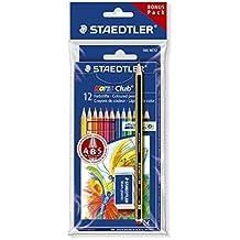 Staedtler Noris Club Buntstifte, erhöhte Bruchfestigkeit, sechskant, Set mit 12 brillanten Farben, Bonuspack mit Radierer und Bleistift, 61 SET6