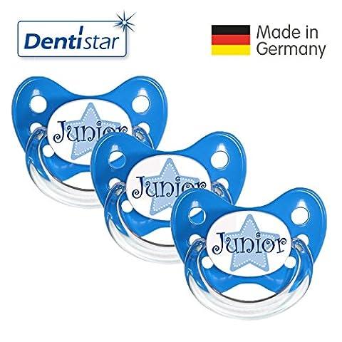 Dentistar® Schnuller 3er Set- Nuckel Silikon in Größe 2, 6-14 Monate - zahnfreundlich & kiefergerecht - Beruhigungssauger für Babys - Blau Junior