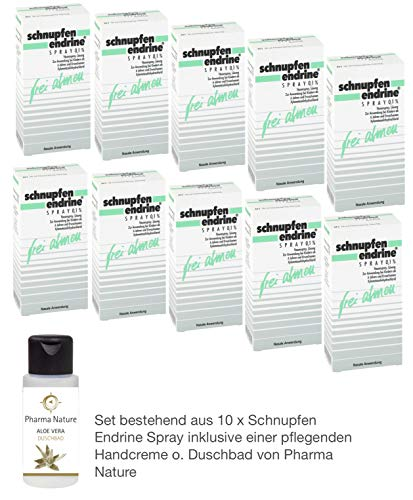 Schnupfen Endrine 0,1{c9860d515ca0cb0a068c08fee675bcf978f2f2a429ee71b115c862349c80661b} Spray 10 x 10 ml Sparpack inkl. einer pflegenden Handcreme o. Duschbad von Pharma Nature