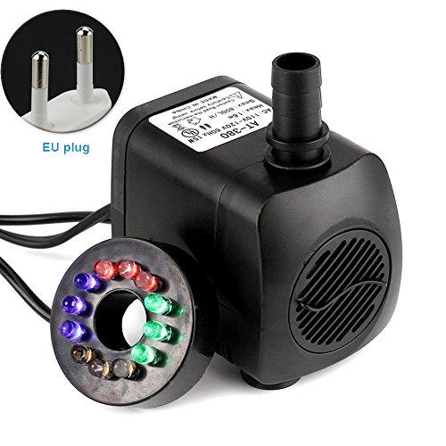 UxradG Tauchpumpe, LEDs Bunt RGB Pumpe Brunnen Pool Home Garten Teich Fisch Tank UK/US/EU-Stecker, Schwarz, eu Plug