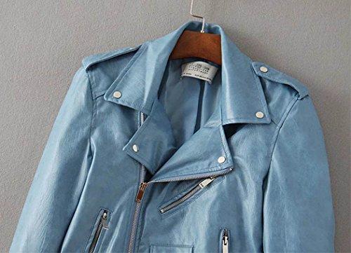 SaiDeng Femme Retro Pu Cuir Biker Moto Zipper Faux Cuir Manteau Biker Veste Bleu