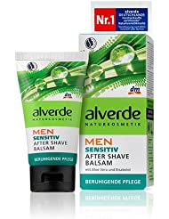 Alverde Men Sensitive After-Shave Balm -Soothes, Moisturizes, Prevents Irritation - With Aloe Vera & Bisabolol – Vegan / No Animal Testing - 75ml
