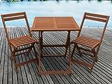 Habitat et Jardin - Salon de Jardin en Bois Exotique Hanoï - Maple - Marron Clair - Table Pliante carrée 60 x 60 x 74 cm + 2 chaises Pliantes