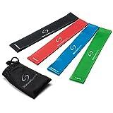 Set aus 4 Fitnessbändern – Gymnastikbänder / Loops für Yoga, Pilates, Reha-Sport Physio-Gymnastik – Für Männer & Frauen – Hergestellt aus natürlichem Latex – Lebenslange Garantie