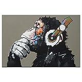 1PCS Tier Affe Bedruckte Leinwand Gemälde Moderne Funny Thinking Affe mit Kopfhörer Art Wand