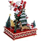NF&E Toy Music Box Christmas Tree W/Snowman Reindeer Kids Wind Up Musical Toy Xmas Christmas Party Decoration Gifts