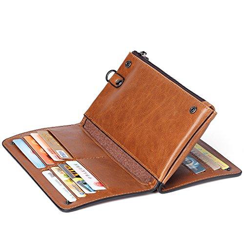 MUCO Herren Geldbörse Wallets Echtes Leder Portemonnaie Klassische Art Kreditkarteninhaber Geldbeutel Kreditkartenfächer M501b