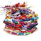 AIUIN Regenbogen Nepal Böhmen Tibetische Handarbeit Baumwolle Armband für Herren Jungen Damen Wickeln Schweißband (10 Pcs)