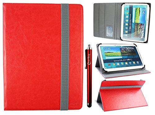 emartbuy Universal 9-10 Zoll Rot Multi Angle Folio Brieftasche Case Cover Mit Card Slots Grau Elastische Strap Und Stylus Stift Geeignet Für Ausgewählte Geräte Aufgeführt Unten Motorola Stylus Strap