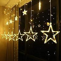 ستارة بتصميم سلسلة من اضواء الليد على شكل نجمة خماسية مدببة الطرف بطول 2.5 متر تصلح كهدية رمضانية، بلون ابيض دافئ، 220 فولت