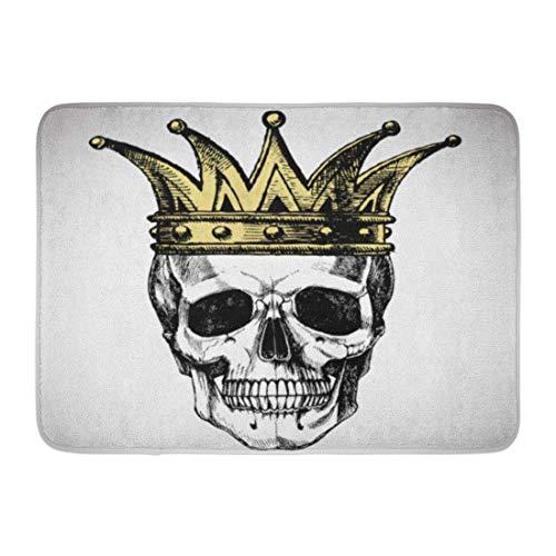 LIS HOME Fußmatten Bad Teppiche Outdoor/Indoor Fußmatte Goth King of Death Porträt Schädel Crown Rock für Ihre Grafik Halloween Badezimmer Dekor Teppich Badematte (Benutzerdefinierte Halloween Grafik)