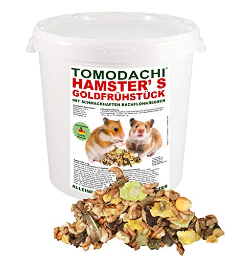 Tomodachi Hamsterfutter mit tierischem Eiweiß, Alleinfuttermittel für Hamster mit Bachflohkrebsen (Gammarus), leckerem Gemüse, Körnern und Saaten, Hamster\'s Goldfrühstück 10 Liter Eimer