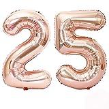 REYOK Numero 25 Palloncini 40 Pollici Oro Rosa 25 ° Compleanno Elio Foglio Mylar Palloncino Compleanno Decorazioni e Forniture 25 ° Compleanno Regali per Ragazze, Donne, Uomini, Foto Puntelli