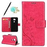 Uposao Kompatibel mit Huawei G8 Brieftasche Hülle Leder Tasche Handyhülle Schutzhülle Wallet Case Flip Hülle Handy Tasche Lederhülle Schmetterling Blumen Klapphülle,Hot Pink
