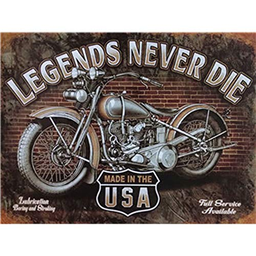 MZY LLC - Poster Vintage in Metallo con Scritta Legends Never Die, 30 x 20 cm